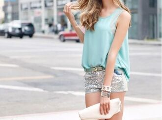 shorts silver shorts top blue top summer outfits summer top clutch white clutch bracelets sequins