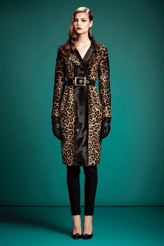 coat leopard print fur coat fur animal print long coat