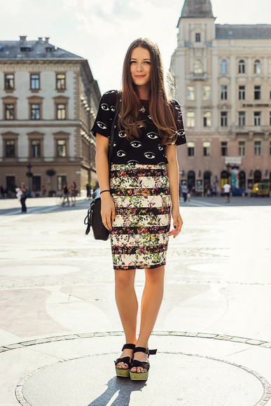 skirt floral floral skirt iemmafashion shoes bag t-shirt eye pattern high heels platform shoes sandals hipster zara blogger cool kenzo sweater
