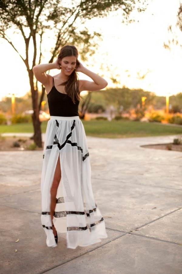 Skirt: black and white maxi skirt, black and white skirt, slit ...
