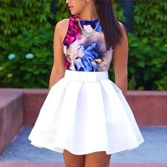 shirt ayamare skater skirt white short summer london paris austria ladies ootn keke palmer chic chic muse thats chic