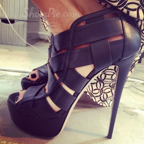 Sexy Stiletto Heels Peep-Toe Platform Sandals