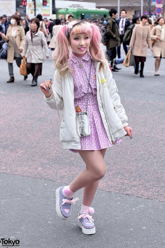 dress pastel pink playboy bunny kawaii pastel pink japan japanese fashion platform shoes kawaii grunge kawaii girl soft grunge jewels shirt skirt style pastel hair pink hair shoes