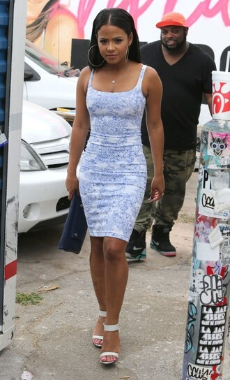 dress summer dress bodycon christina milian sandals