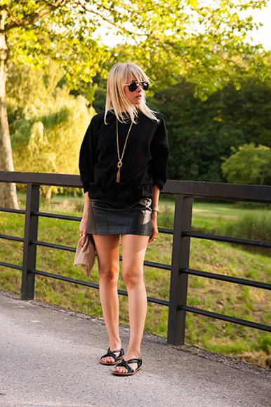 shoes black fashion jewels chaloth skirt sunglasses blogger leather skirt & other stories asos h&m sweater ring hipster summer outfits style cool rad dope fashionista