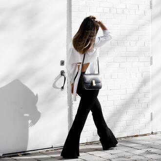 pants tumblr black pants flare pants shirt white shirt open back backless backless top bag black bag shoulder bag black and white