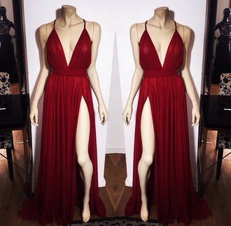 dress red dress dark red chiffon dress halter dress cut out dress