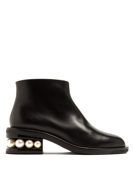 Nicholas Kirkwood leather ankle boots pearl ankle boots leather black shoes