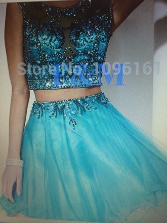 dress two-piece blue dress short prom dress prom dress prom gown two piece dress set sparkly dress sequin dress sequin prom dresses