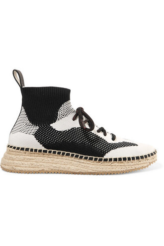 sneakers black knit shoes