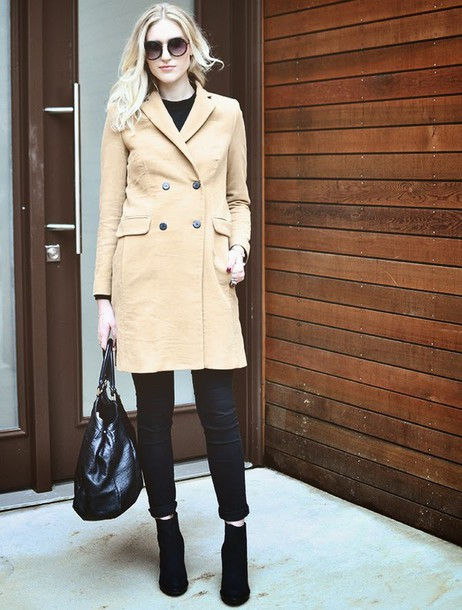 society grl blogger coat black bag black jeans