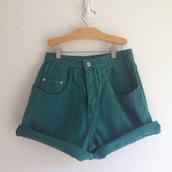 shorts,denim shorts,green,high waisted