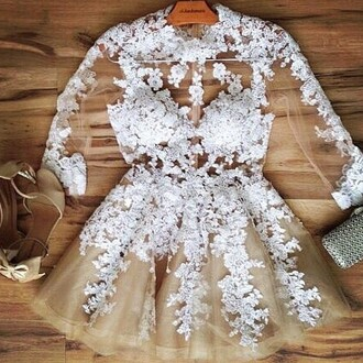 dress chlotes prom vintage white lace heels bag clutch pattern see through homecoming flowers skirt