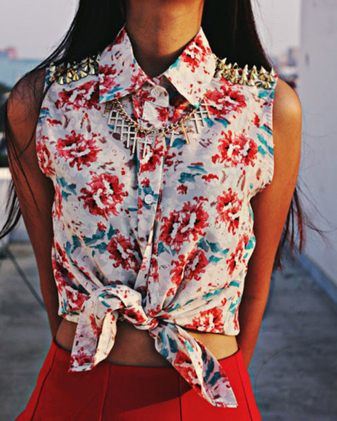 shirt floral spikes collared shirts