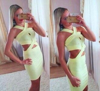 dress yellow dress midi dress