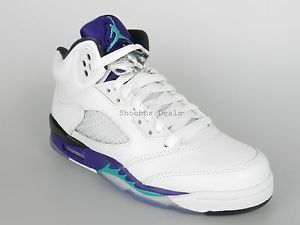 Nike Air Jordan 5 Retro GS Size 4Y New Boys White Grape Emerald Shoes 440888 108 | eBay