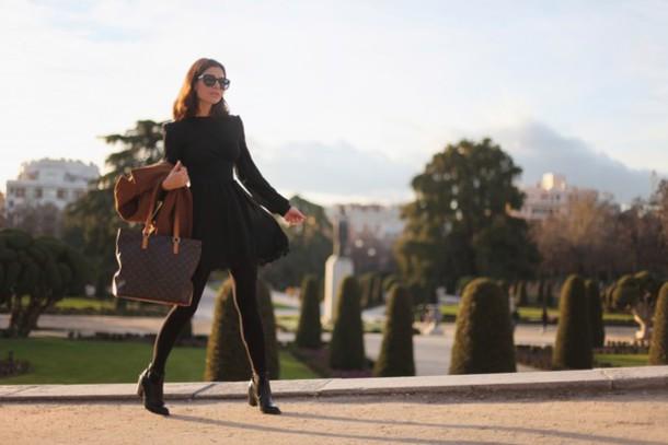frassy blogger sunglasses long sleeve dress louis vuitton tote bag coat dress bag shoes