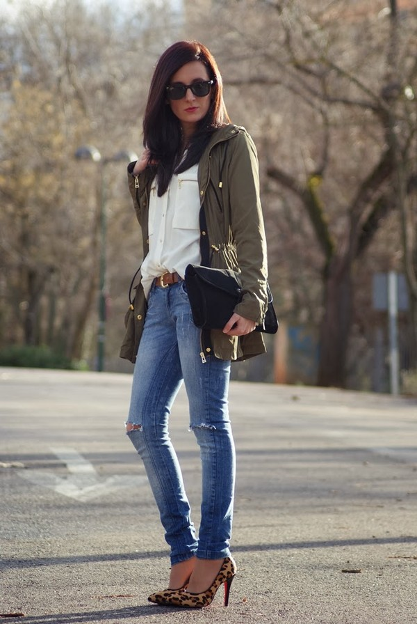 my name is maria coat shirt jeans bag shoes