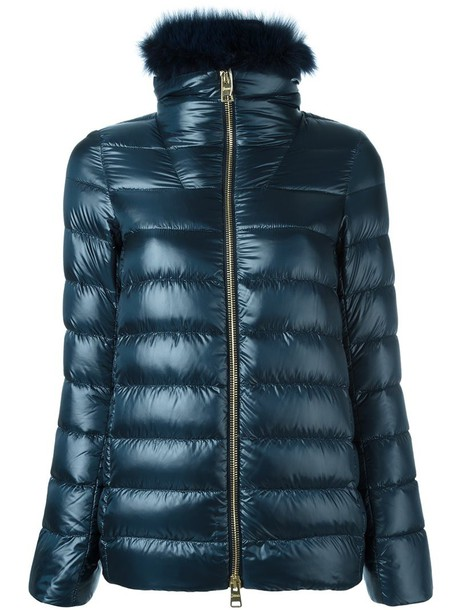 Herno jacket puffer jacket fur fox women blue