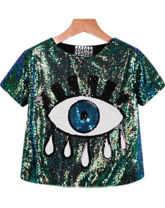 top crop tops embellished eyes