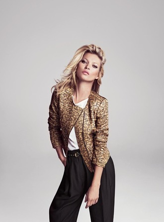 jacket kate moss gold jacket biker jacket