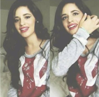 sweater winter sweater pullover united kingdom camila cabello fifth harmony red white t-shirt shorts winter outfits boots shirt crop tops