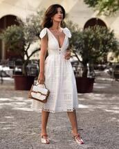dress,tumblr,lace dress,white lace dress,v neck,v neck dress,white dress,midi dress,mules,bag,white bag,shoes