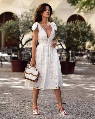 dress tumblr lace dress white lace dress v neck v neck dress white dress midi dress mules bag white bag shoes