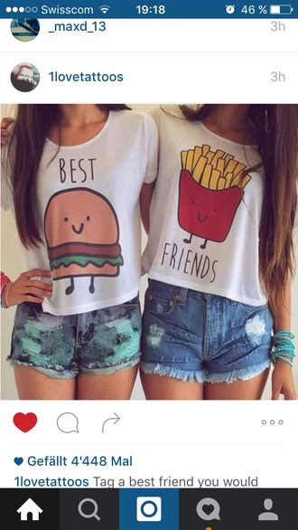shirt fries hamburger burger and fries t-shirt bff