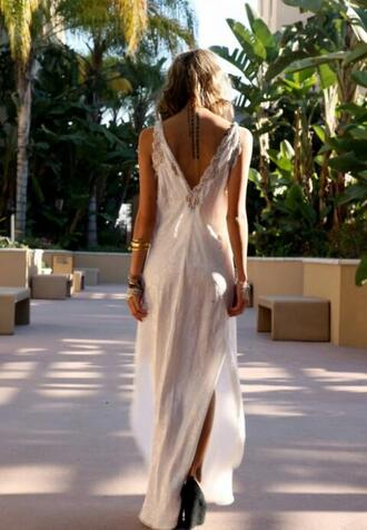 dress white dress ivory white maxi dress backless lace tumblr