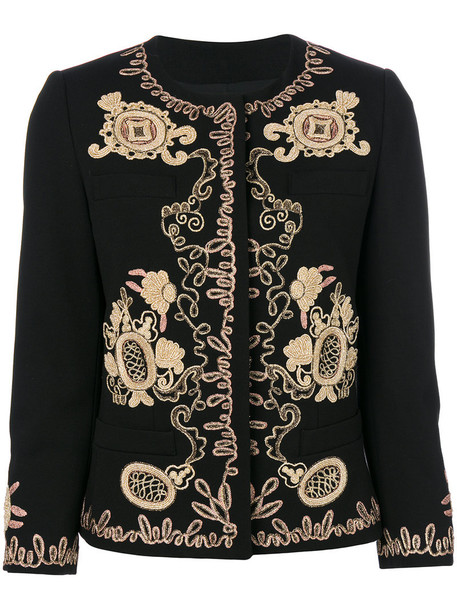 DONDUP jacket embroidered jacket embroidered metallic women spandex black