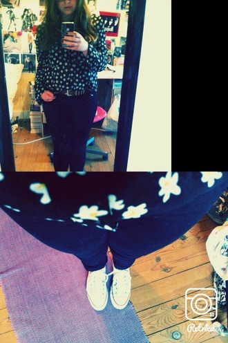 blouse flowers floral converse top jeans hippie hypster lovers + friends perfect rock grunge casual peace