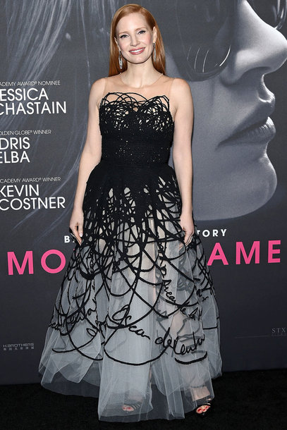dress jessica chastain gown prom dress red carpet dress strapless