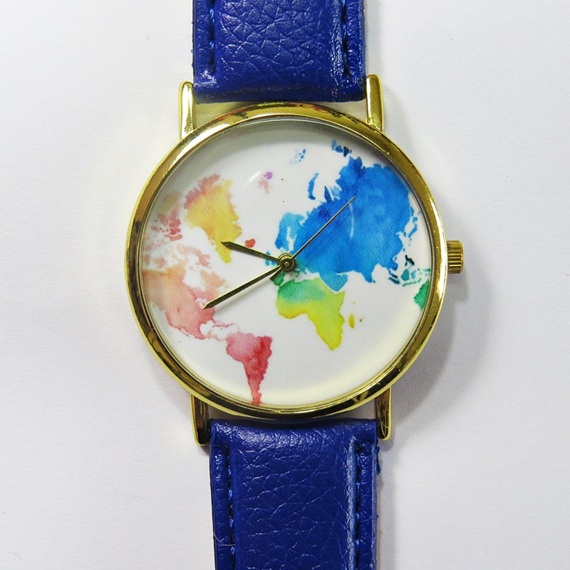 Colored Map Watch , Vintage Style Leather Watch, Women Watches, Unisex Watch, Boyfriend Watch, Men's Watch, Ladies Watch