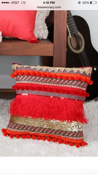 home accessory orange red tassel glitter pom pom pillow