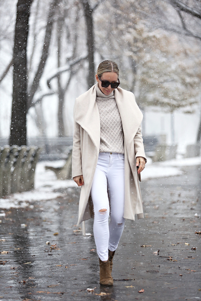 coat tumblr nude coat waterfall coat sweater knit knitwear knitted sweater turtleneck turtleneck sweater sunglasses boots ankle boots denim winter outfits