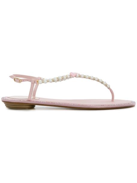 René Caovilla women pearl embellished sandals leather purple pink shoes