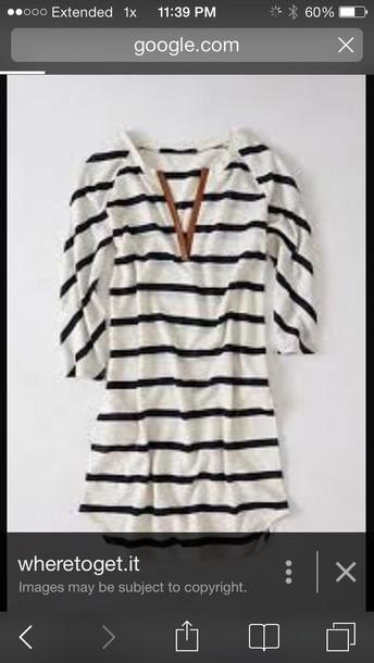 shirt blue & white striped tunic