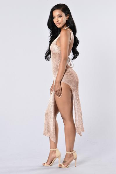 abd99acc2a0 Fiji Cover Up Dress - Rose Gold | Fashion Nova