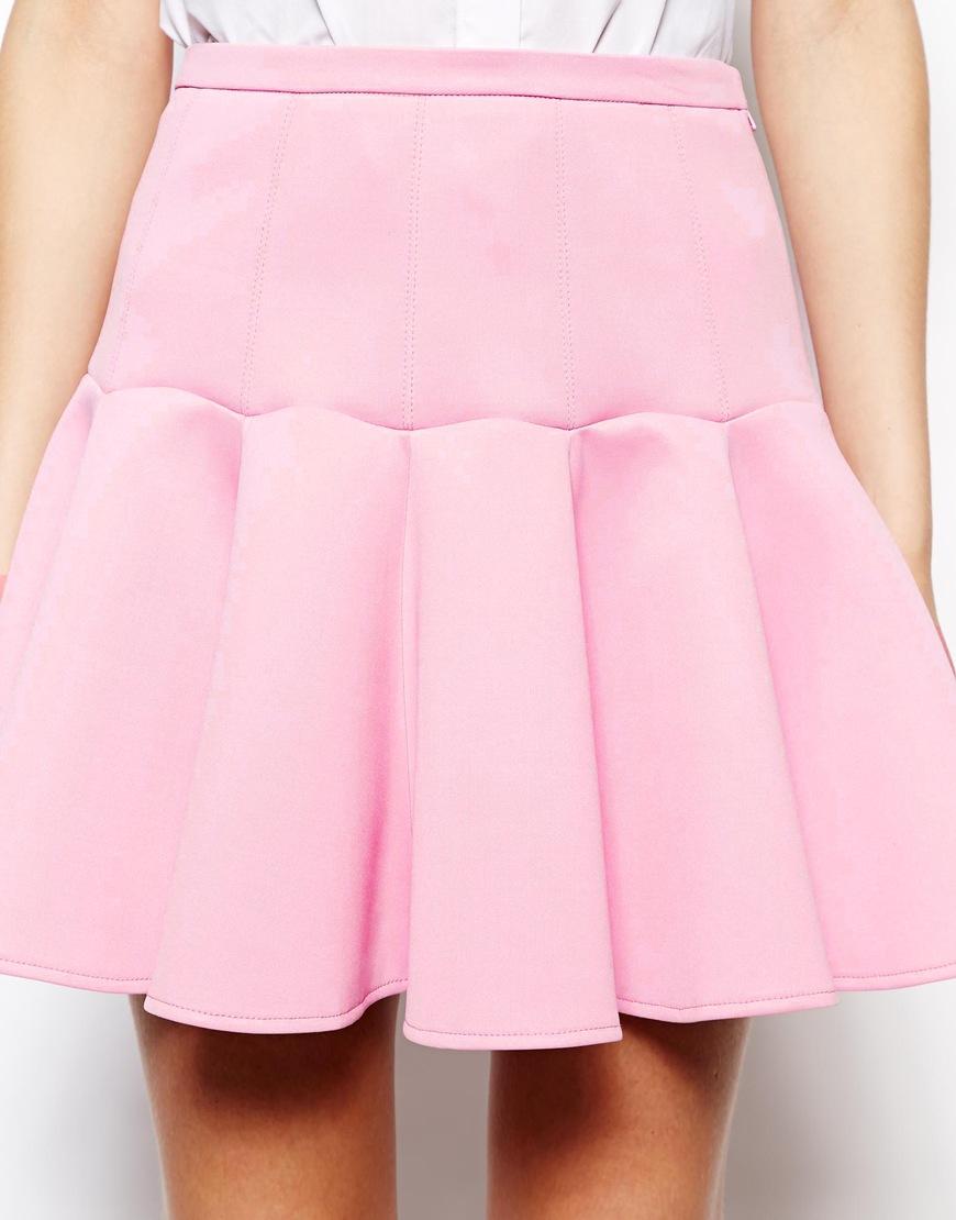 ASOS Mini Skirt in Scuba with Flippy Hem at asos.com