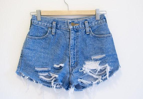 Shorts cutoffs grunge / custom made made fringe by theivyshoppe