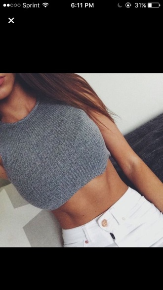 grey crop crop tops stripes dope fashion knitted top knitted crop top