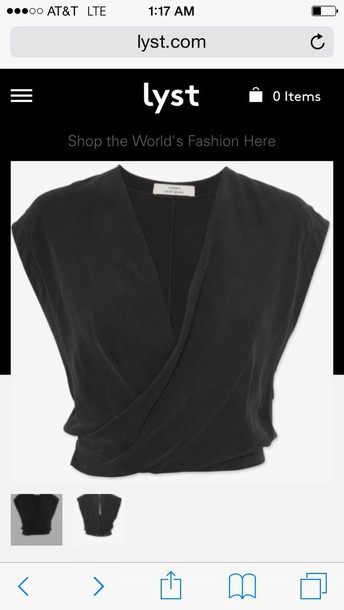 blouse black wrap crop top