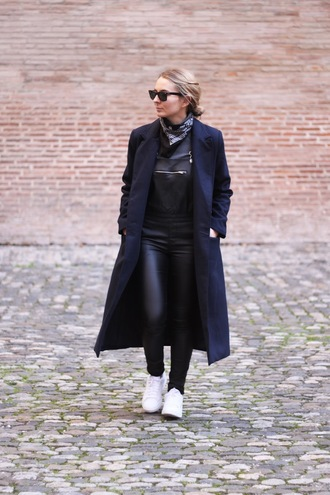 jane's sneak peak blogger black overalls leather overalls long coat navy coat