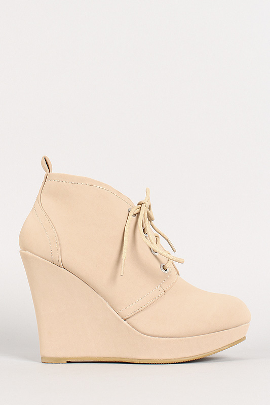 05 nubuck lace up round toe platform wedge