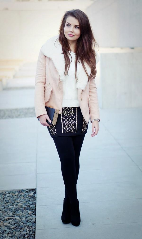 a piece of anna jacket skirt sweater bag shoes