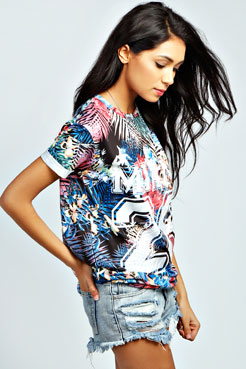 Aurora Miami 28 Tropical Baseball Tee at boohoo.com