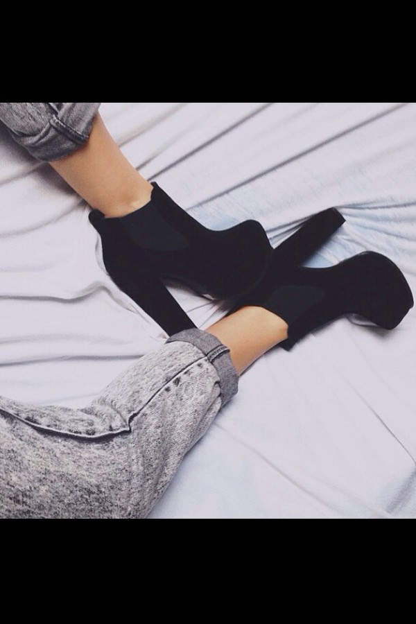 shoes black heels high heels black high heels jeans pants