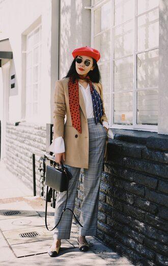 hallie daily blogger jacket scarf pants bag sunglasses jewels beret fall outfits grey pants beige coat black bag