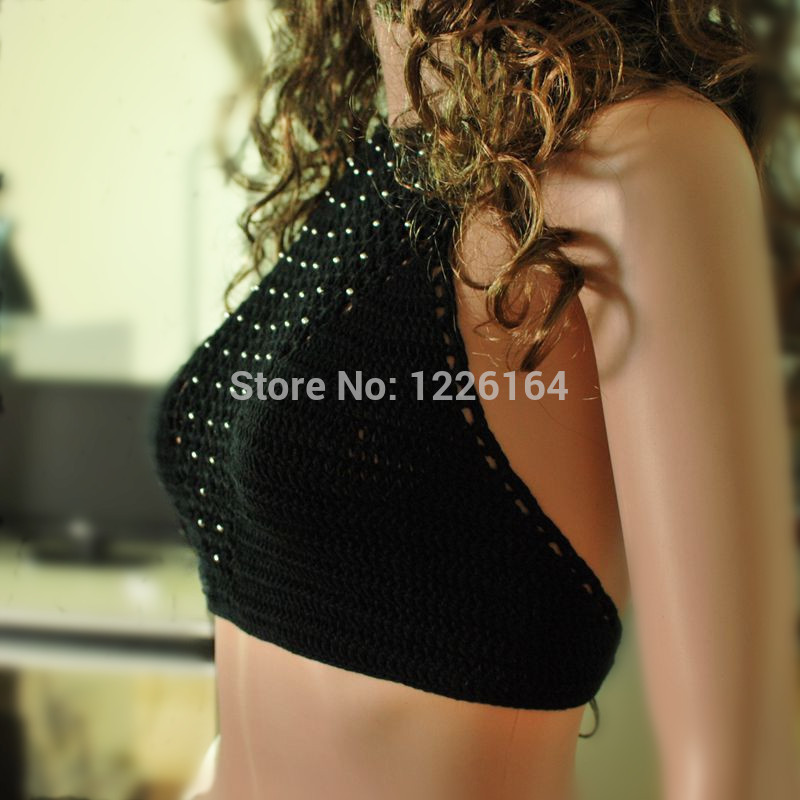 2014 ladie's Handmade Crochet bikini swimwear Sexy Crop top Beaches swimwear Tank Tops Tees WITH SILVERY BEAD-in Camis from Women's Clothing & Accessories on Aliexpress.com | Alibaba Group